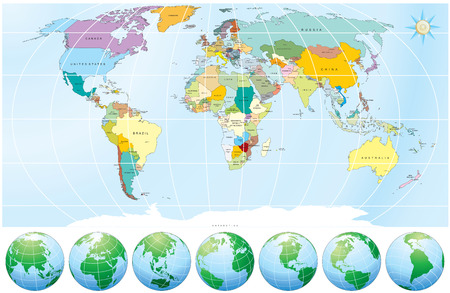 world map outline: Detailed World Map with all Names of Countries and Capitals - -individual drawn objects,easy editable colors