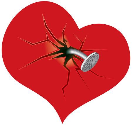 Crashte heart - vector illustratie