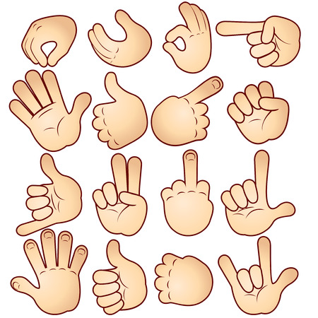 finger signals: Vector hands collection