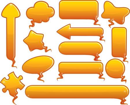 Glossy orange speech bubbles  Vector