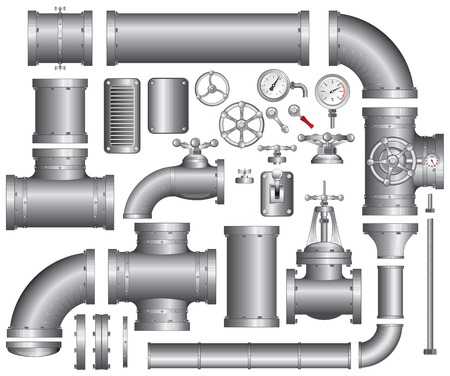 fitting: Vector Collection of detailed Construction Pieces: pipes, fittings, gate valve, faucet, ells ...