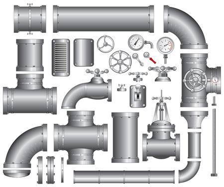 ventile: Vector Collection von detaillierten Construction Pieces: Rohre, Fittings, Tor-Ventil, Wasserhahn, mehr...