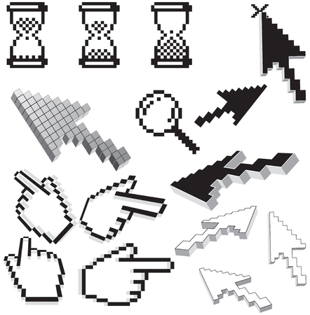 clic: Pixelated icons and arrows isolated vector  Illustration