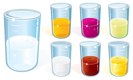 shot glass: Vector glasses with water,milk and juices