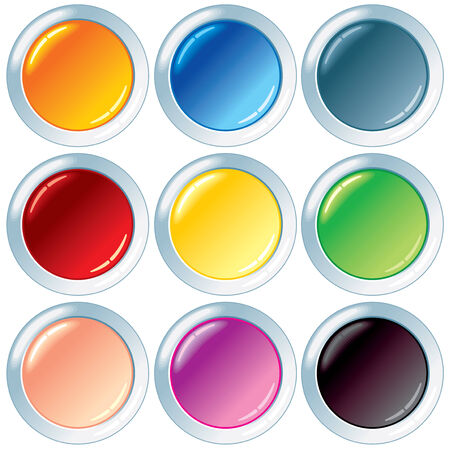 Set of empty colorful plastic buttons. -only gradients used Vector