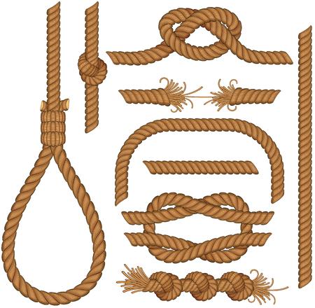tug: Insieme di elementi di corda senza saldatura - facili colori modificabili senza sfumature forca, scaletta, cavo, lazo, nodi, ciclo, spirale ecc... Vettoriali