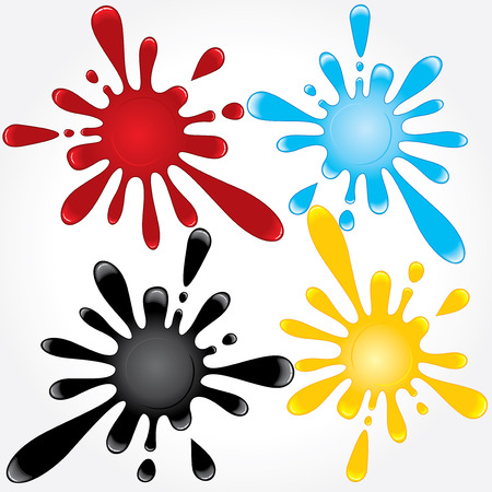 Useful various splashes of blood, oil, water, dye. vector -only gradients Vector