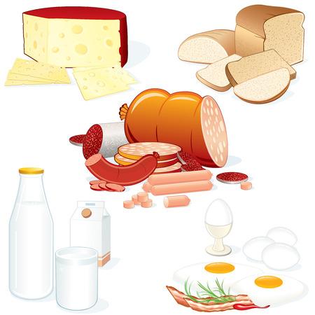 carton: Aantal gedetailleerde voedsel vectorillustraties (vlees, kaas, melk, brood etc) alle objecten gescheiden en groupped Stock Illustratie