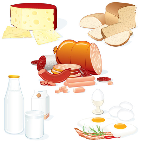Ensemble de vecteur détaillée food illustrations (viande, fromage, lait, pain etc.) tous les objets séparés et groupped