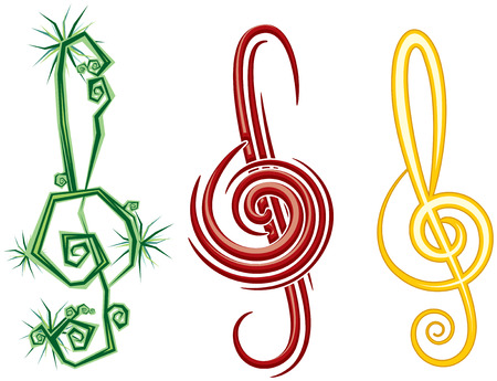 Various Music Styles Reggae, Pop, Jazz. Vector design violin clef Vetores