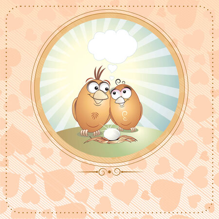 Lovebirds birthday or valentine card with copy space  Vector