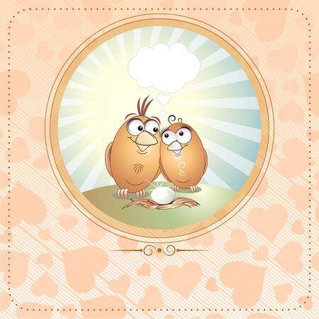 enamorados caricatura: Tarjeta de cumplea�os o San Valent�n de Agapornis con espacio de copia