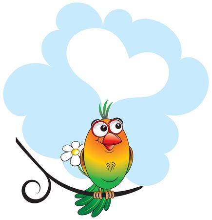 Dreaming lovebird with speech Stock Vector - 7628764