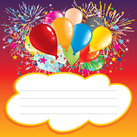 petard: Card with balloons and text area  Illustration