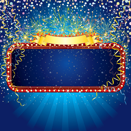 confetti background: Advertising billboard with fireworks and confetti. Ready for celebrating and entertainment text&design. Illustration