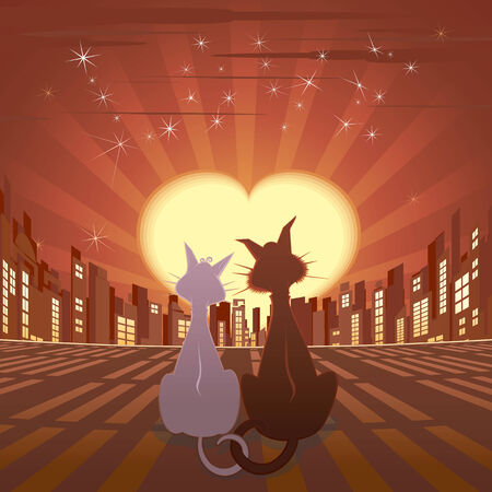 Couple of cats on roof Stock Vector - 7628804