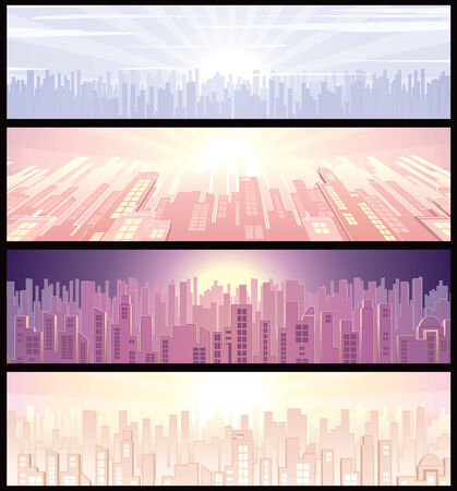 nightlife: Set of urban wide backgrounds or banners with cityscape illustration
