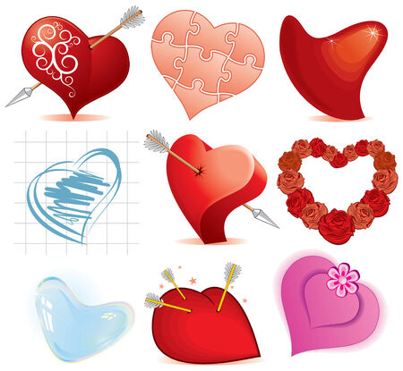 heartily: Collection of stylized hearts Illustration
