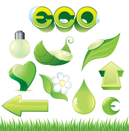 environmentalist label: Ecological detailed green symbols -green lamp, heart, leafs, drops, arrows etc.