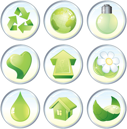 Beauty icons, nature green symbols or labels: drop,flower,globe,recycled,heart,arrow,light bulb,home Vector