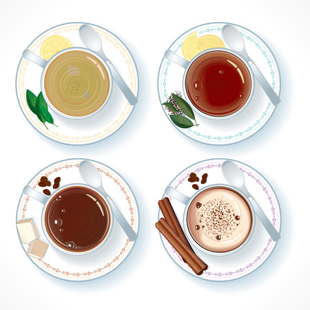 Hot drinks - cups with tea,coffee,cappuccino,espresso and green tea Stock Vector - 7628838