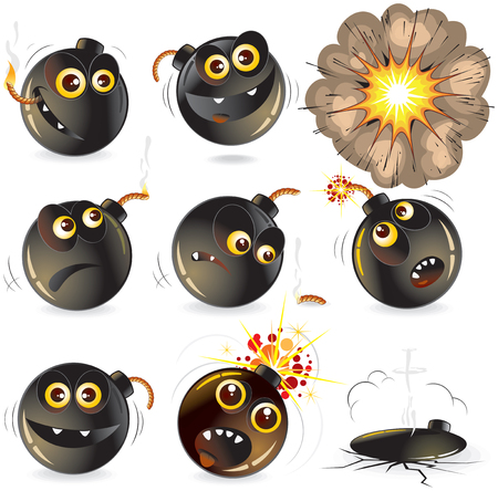 Collection of cartoon bomb expression  Vector