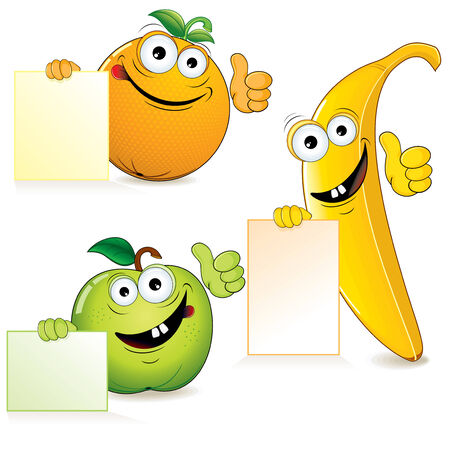 Funny cartoon fruits with blank sign Stock Vector - 7628808