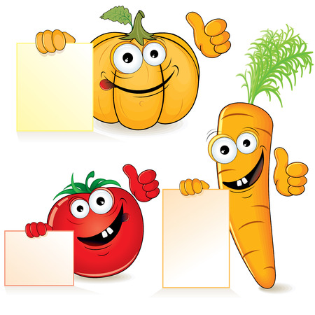 pumpkin tomato: Cute cartoon vegetables with empty sign