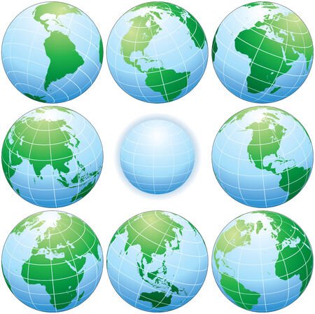 Collection of classic globes with various angle
