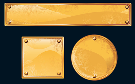 Old golden plates and signboards Vector