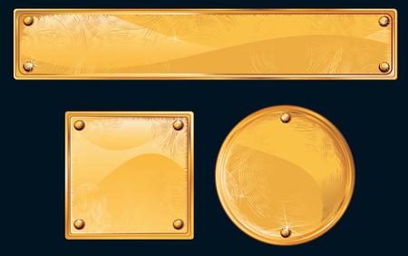 Oude gouden platen en uithang borden