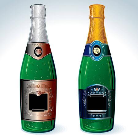 bollicine champagne: Due bottiglie di champagne di lusso con etichetta vuota per la progettazione (maglie non utilizzati)