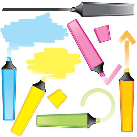 Marker drawing elements for text or design: lines, speech bubbles, arrows  Vector