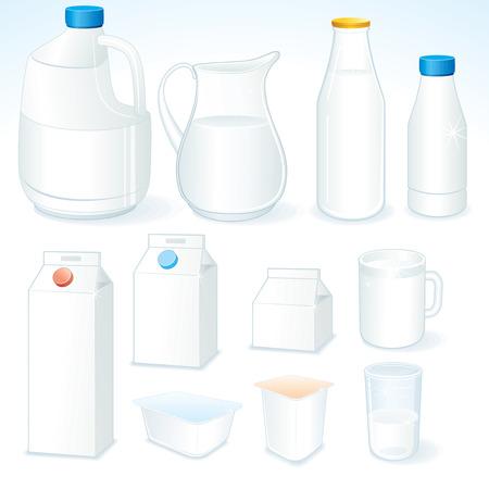 carton de leche: Varios paquetes para productos lácteos  Vectores