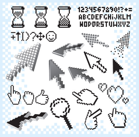 Retro pixel set.Isolated icons,alphabet,background,hands,arrows  Vector