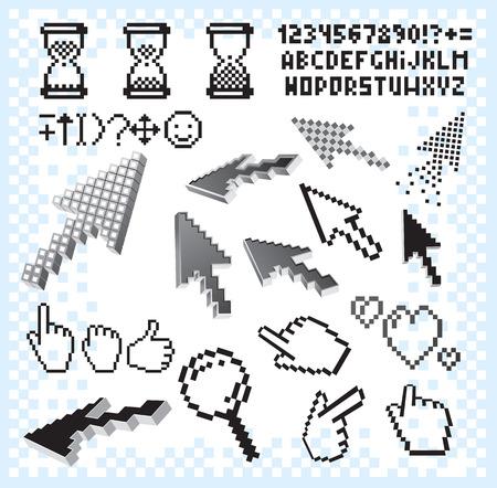 clic: Retro pixel set.Isolated icons,alphabet,background,hands,arrows