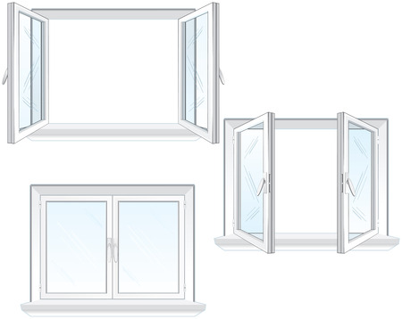 Opened and closed window  Vector
