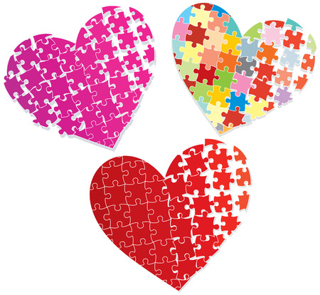 Stylized puzzle hearts Vector