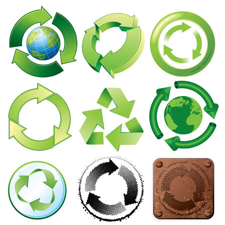 Recycle symbols-various stylized icons and buttons Stock Vector - 7628947