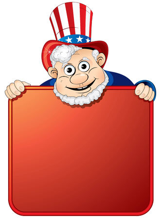 uncle: Uncle Sam holding a blank sign for your text Illustration