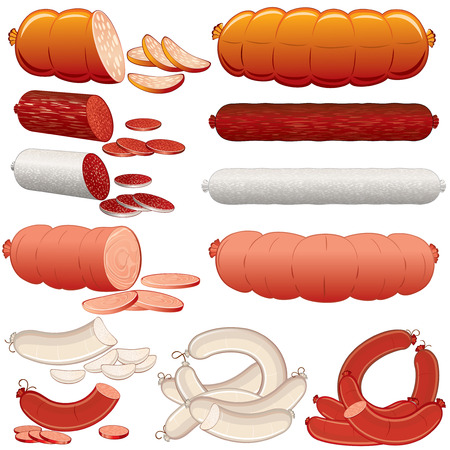 veal sausage: Wurst, Salami, Ham and Sausages illustration for new design