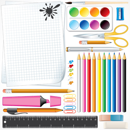 office supplies: Set of school tools and supplies -all object separated and grouped