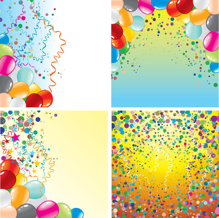 Colorful backgrounds set with balloons and confetti Vector