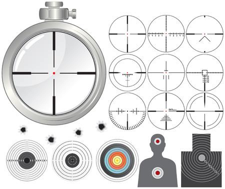 leque: Shooting kit-targets,cross-hairs,dummies,guns sight  Ilustra��o