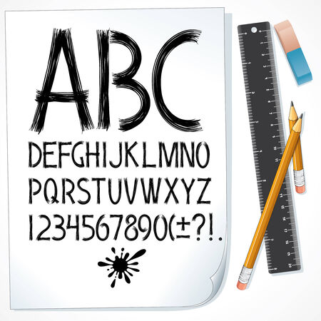 Sketch drawn alphabet on paper Vector