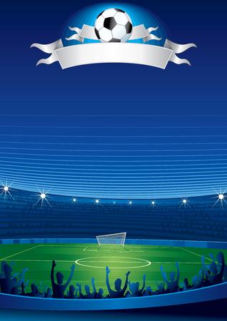 football match: Folla entusiasta di persone a uno stadio di calcio  Vettoriali