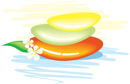 spa stones: Colored glossy spa stones with frangipani flower  Illustration