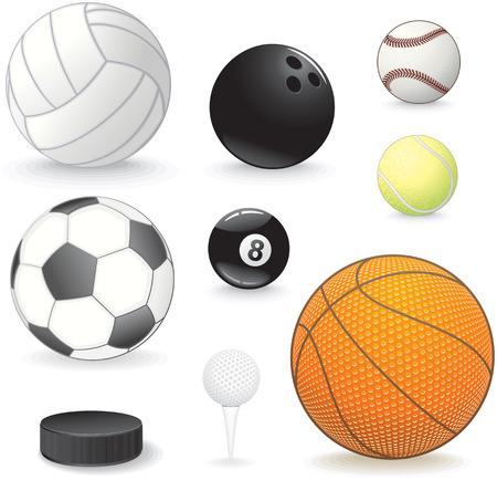hockey equipment: Sport balls collection Illustration