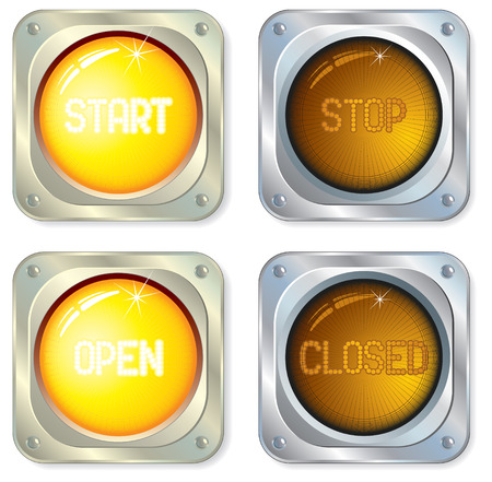 start button:  Luminous diodes button in onoff state