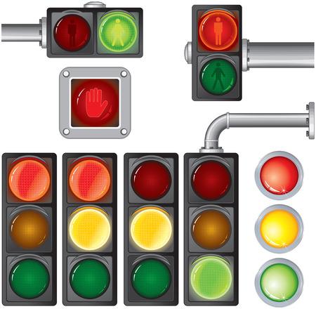 traffic control: Ilustraci�n de sem�foros